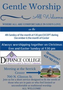 Gentle Worship @ Serrick Center at Defiance College | Defiance | Ohio | United States