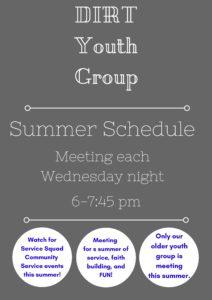 DIRT summer schedule