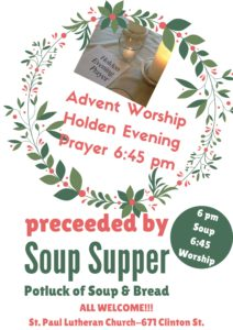 Advent Worship & Soup Supper @ St. Paul Lutheran Church | Defiance | Ohio | United States