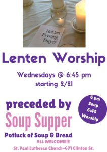 Lenten Worship and Soup Supper @ St. Paul Lutheran Church | Defiance | Ohio | United States