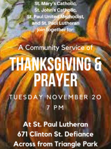 Community Thanksgiving Service @ St. Paul Lutheran Church | Defiance | Ohio | United States