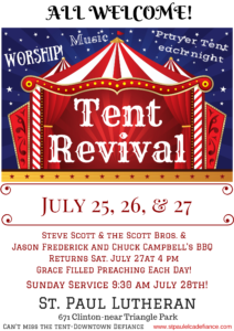 Tent Revival FINAL NIGHT! plus BBQ! @ St. Paul Lutheran Church
