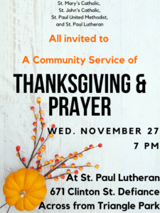 Community Thanksgiving Eve Service @ St. Paul Lutheran Church