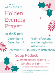 Advent Holden Evening Prayer and Soup Supper