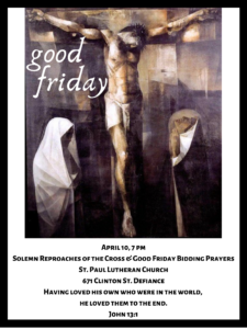 Good Friday Solemn Reproaches of the Cross @ St. Paul Lutheran Church Facebook Page