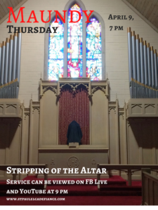 Maundy Thursday Stripping of the Altar @ St. Paul Lutheran Church Facebook Page